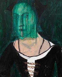 Peter Bosshart, Portrait de femme, 2008, Öl/Lw, 55 x 125 cm