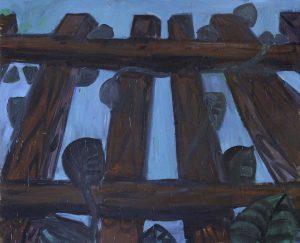 Peter Bosshart, Am Zaun, 2012, Öl/Lw, 155-x 190 cm
