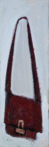 Peter Bosshart, Do's Tasche, 2020, Öl/Lw, 120 x 40 cm